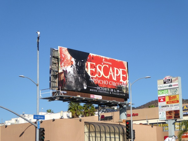 Escape Psycho Circus Halloween billboard