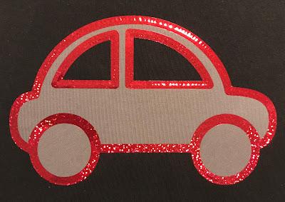 Tyg- och textilvinylapplikation - glittrig bil