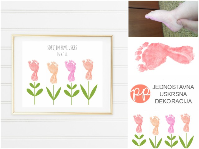 Uskrsna dekoracija s bebinim otiscima stopala