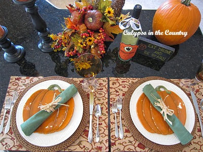 Two Halloween place settings set at counter