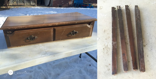 using a dresser top and old table legs to make a mudroom storage bench