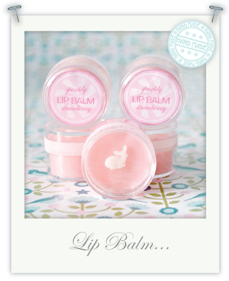 Hand-made sparkly strawberry lip balm by Torie Jayne