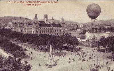 Globo aeróstatico sobre Barcelona en 1918