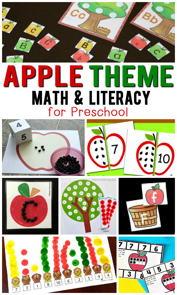 A collection of FREE Apple themed math and literacy printable activities for preschool kids. Includes number puzzles, counting, ten frames, do-a-dots, alphabet matching, letter sorting and tracing. Perfect for a Fall or Apple preschool theme.