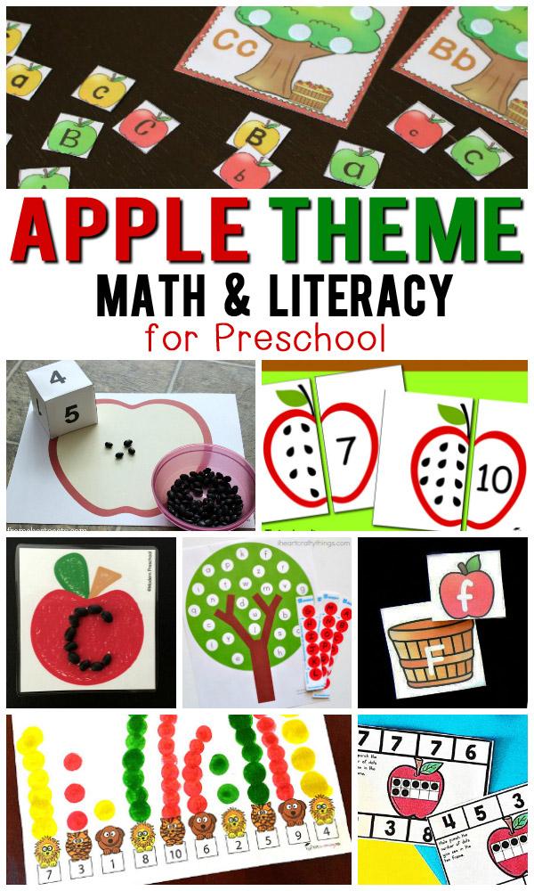Free Apple Theme Math & Literacy Printables For Preschoolers Totschooling  - Toddler, Preschool, Kindergarten Educational Printables