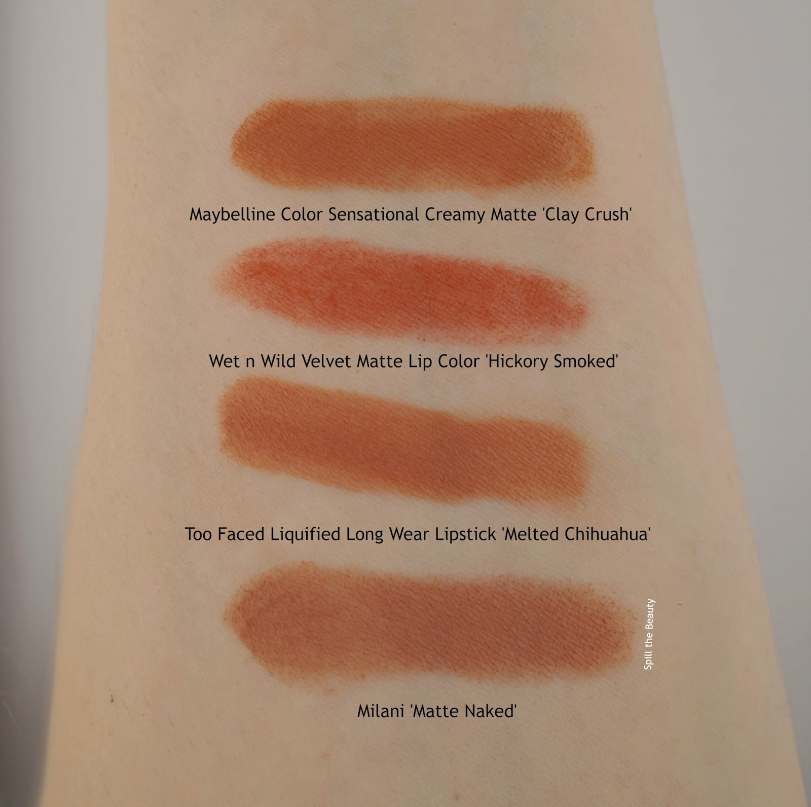 Too Faced Melted Chihuahua Review swatchescomparison drugstore dupe maybelline wet n wild milani