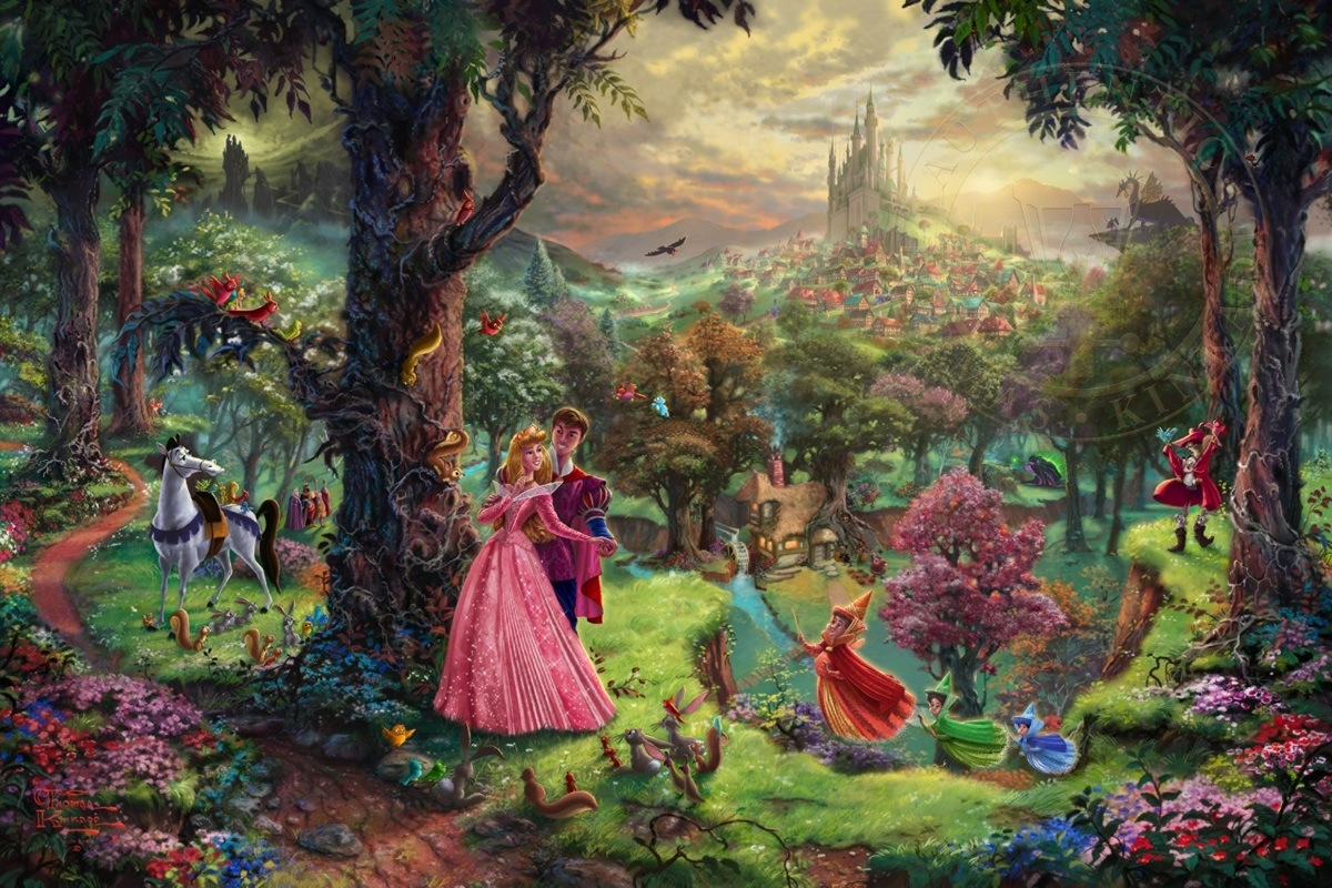 10-Sleeping Beauty-Thomas-Kinkade-Walt-Disney-Stories-Seen-Through-Paintings-www-designstack-co