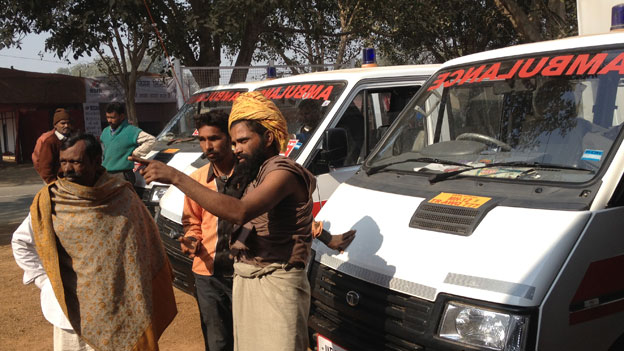 Paramilitry force personnel during a mock drill to tackle emergencies at Kumbh Region.