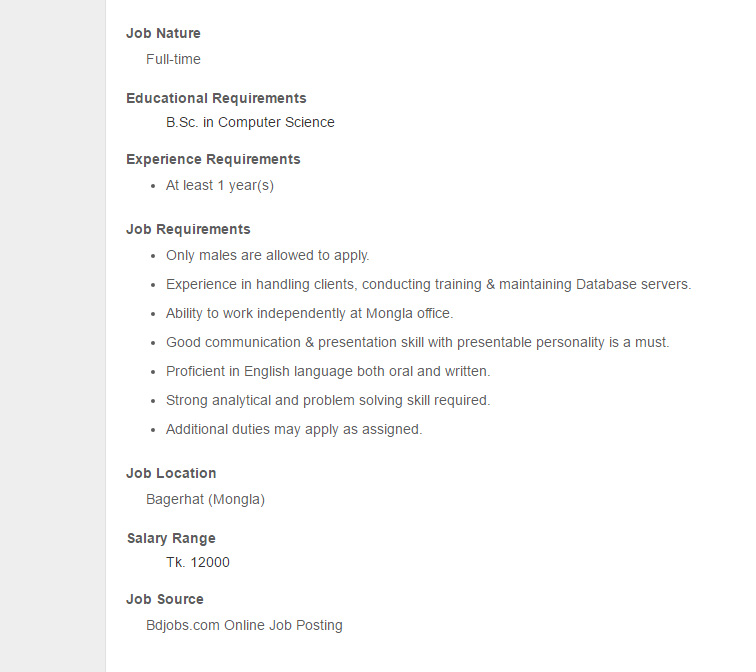 TechnoVista Limited Post Support Maintenance Engineer Jobs – Maintenance Engineer Job Description