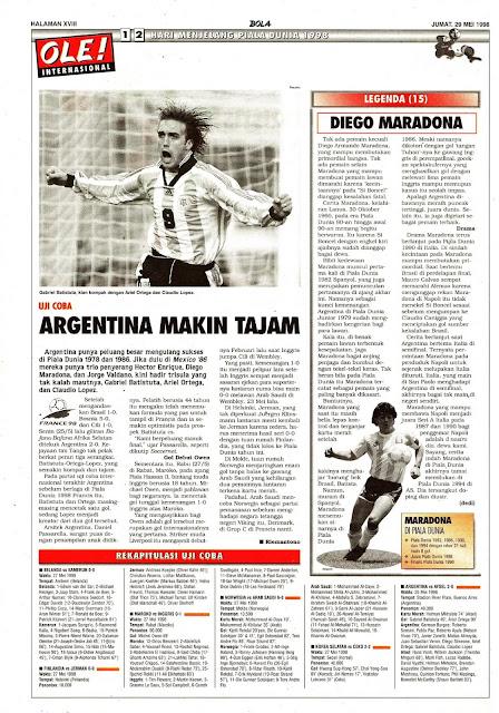 UJI COBA JELANG PIALA DUNIA 1998 GABRIEL BATISTUTA ARGENTINA