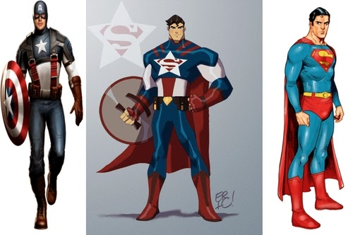 02-Superman-and-Captain-America-comics-Eric-Guzman-Superhero-MashUp-www-designstack-co