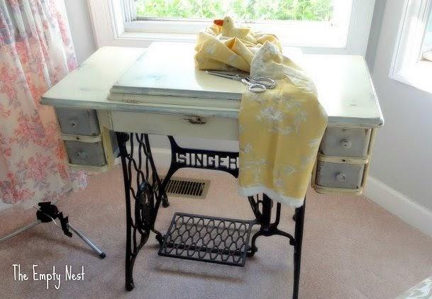 La Vie Vintage Bleu Chalk Painted Antique Sewing Cabinet