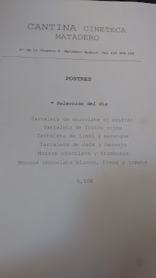 CARTA CANTINA MATADERO MADRID