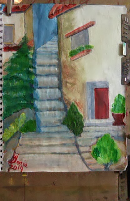 The Upper Room sketch by Gloria Poole;watercolors & acrylics; 2014; on paper