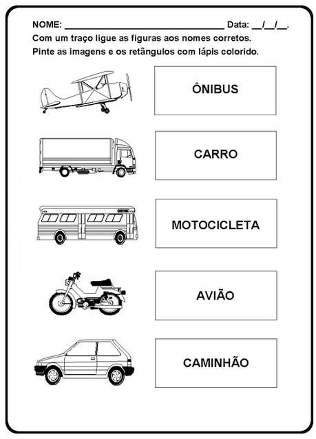 Atividades Carro Moto Caminhão ônibus 55 Desenhos Colorir