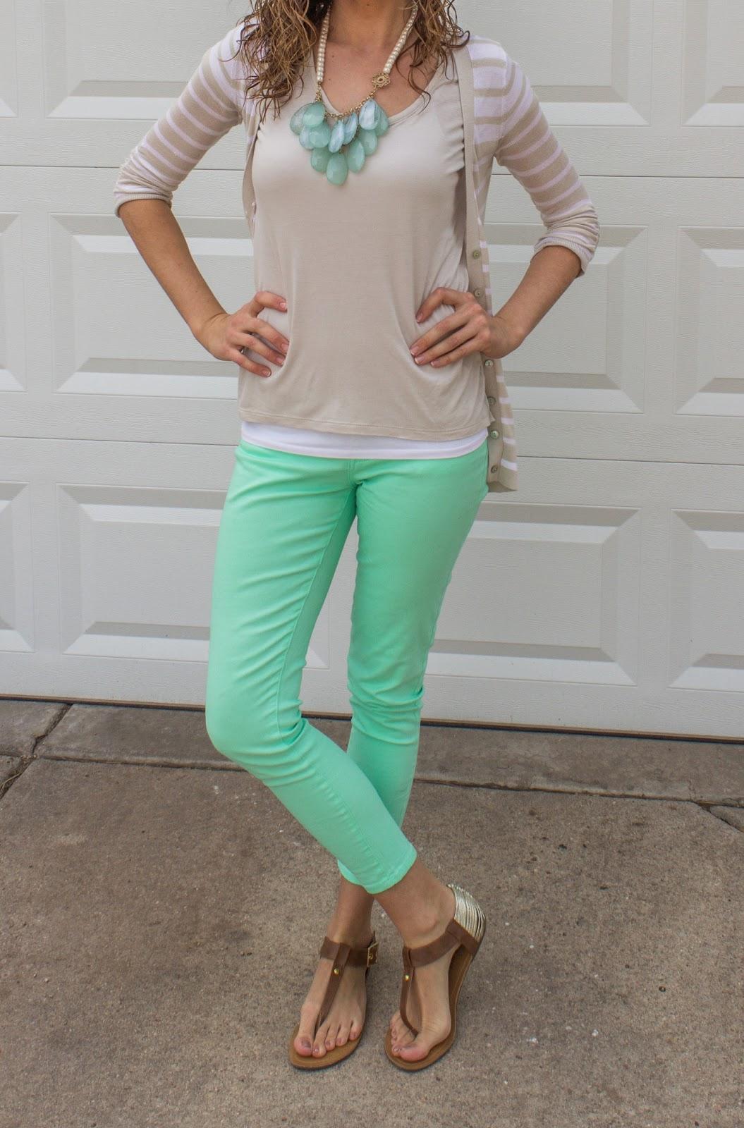 Wear Wednesday: Mint Pants & Tan Sweater by Colorado fashion blogger Eat Pray Wear Love