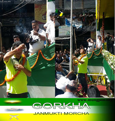 GJM president hoisting party flag in 9th foundation day