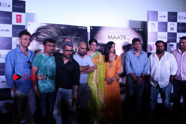 Bollywood Actress Raveena Tandon in Transparent Green Saree at Trailer Launch Of Film Maatr  0027.JPG