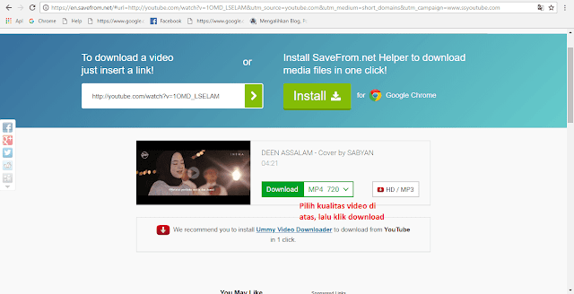Tutorial mendownload video dari youtube ganti link langkah 3