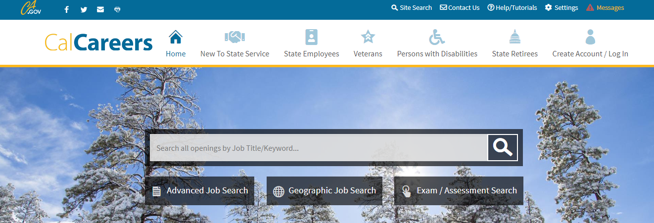Image of the CalCareers homepage