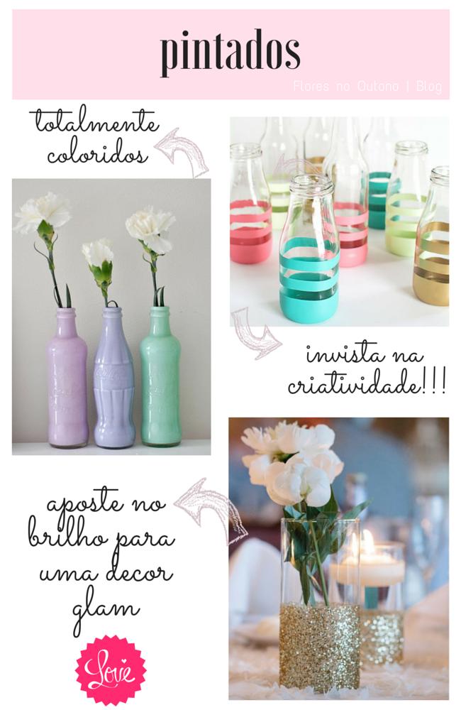 decoração com garrafa de vidro