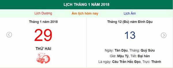 Xem ngày tốt xấu, giờ hoàng đạo - Xem lịch Thứ Hai ngày 29 tháng 1 năm 2018