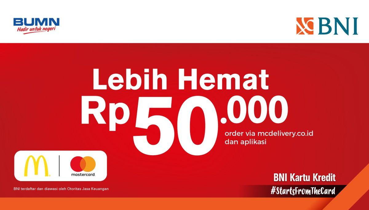 McDonald's - Promo Hemat 50 Ribu Pakai BNI (s.d 31 Agustus 2018)