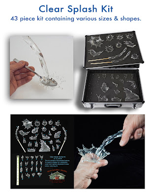 Artificial fake clear splashes & pours