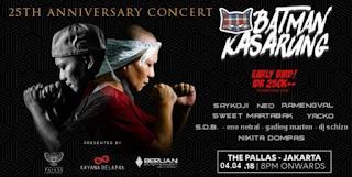 cari tiket event 25th anniversary batman kasarung concert di the pallas jakarta