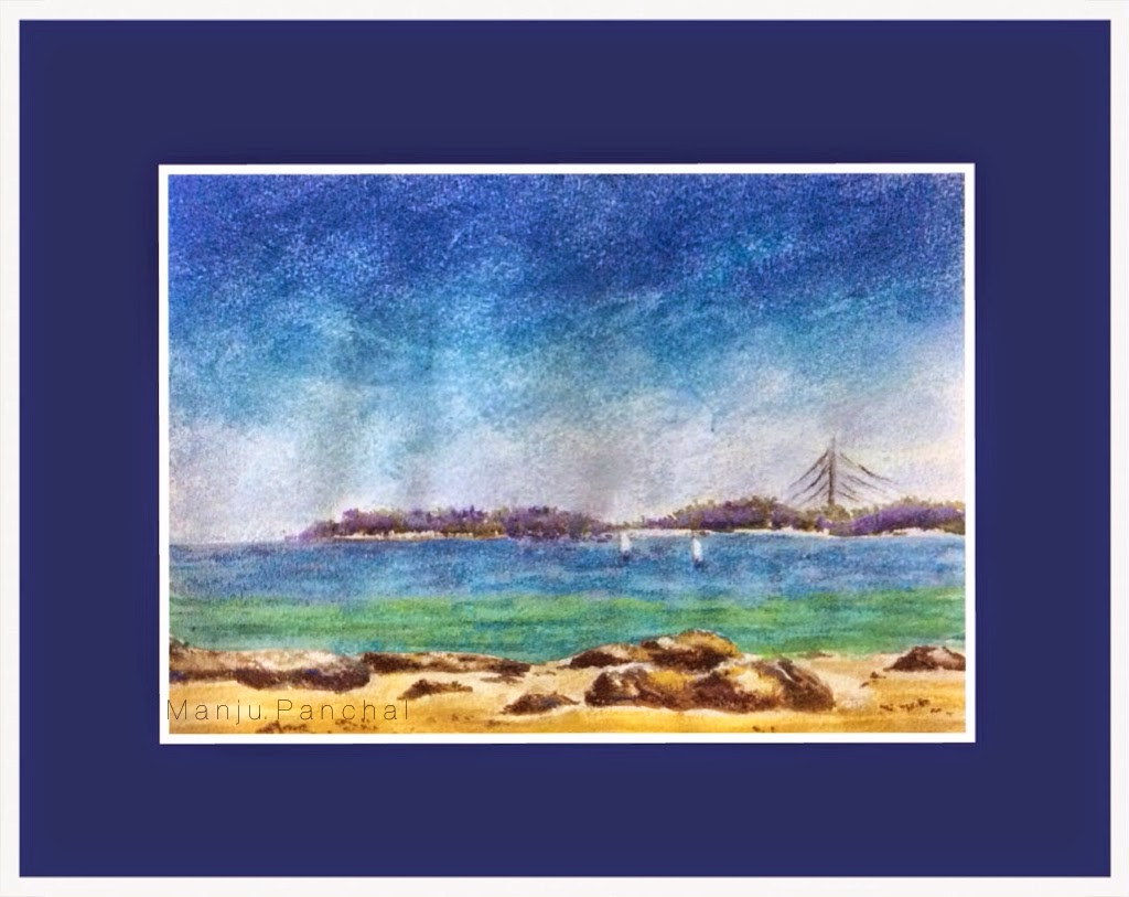 watercolour and soft pastel painting of seascape by Manju Panchal