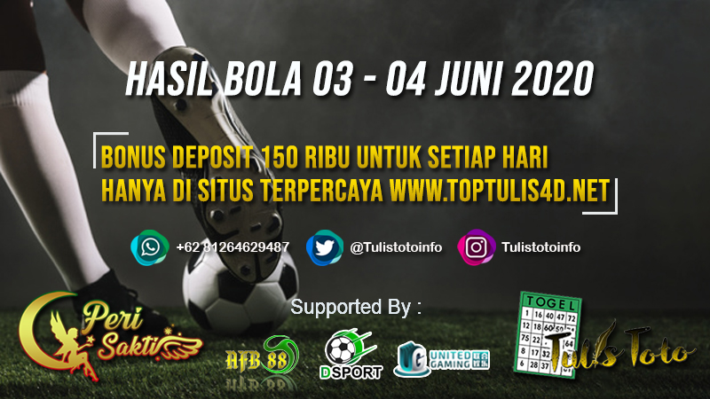 HASIL BOLA TANGGAL 03 – 04 JUNI 2020