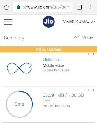 Check Jio 4G data balance online