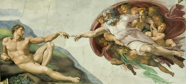 Vatican City. Michelangelo, Sistine Chapel: the Creation of Adam