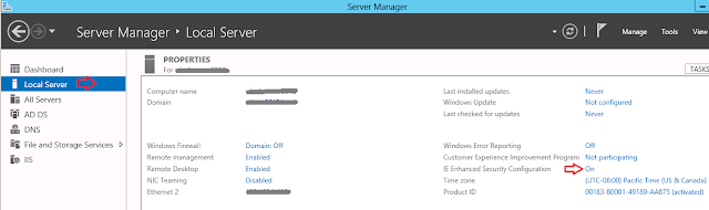 How to disable IE Enhanced Security in Windows Server 2012
