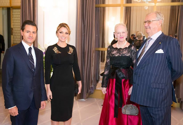 Queen Margrethe, Prince Henrik, Crown Prince Frederik, Crown Princess Mary, Prince Joachim, Princess Marie and Princess Benedikte attend an dinner hosted by President Enrique Pena Nieto and his wife Angelica Rivera of Mexico at Hotel DAngleterre