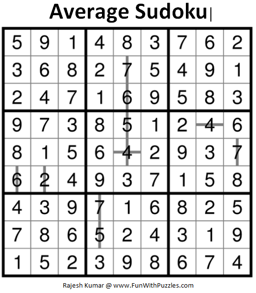 Average Sudoku (Daily Sudoku League #160) Solution