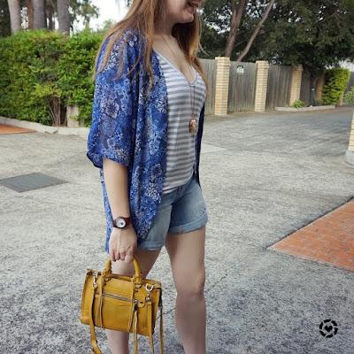 awayfromblue instagram print mixing denim shorts kimono SAHM style outfit