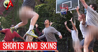 guys are caught playing basketball butt baked
