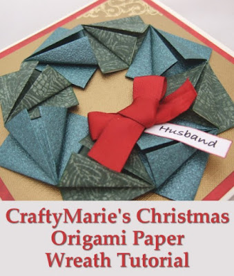 Handmade card with paper folded wreath for Christmas