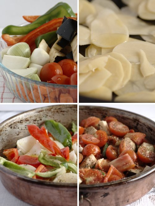 sequenza della cottura delle verdure