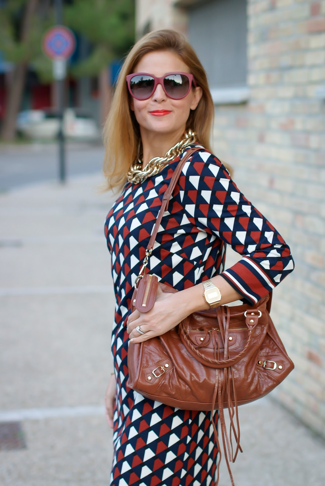 1.2.3 Paris Fall/Winter geometric print dress, Balenciaga City cognac bag on Fashion and Cookies fashion blog, fashion blogger style