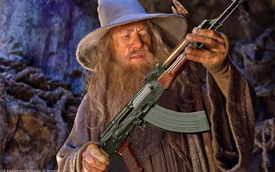 Magier mit speziellem Zauberstab AK47 lustig - Schießprügel