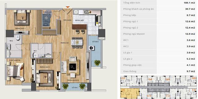 Thiết kế căn hộ B-16 chung cư Mon Central