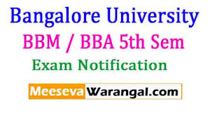 Bangalore University BBM / BBA 5th Sem 2016 Exam Notification
