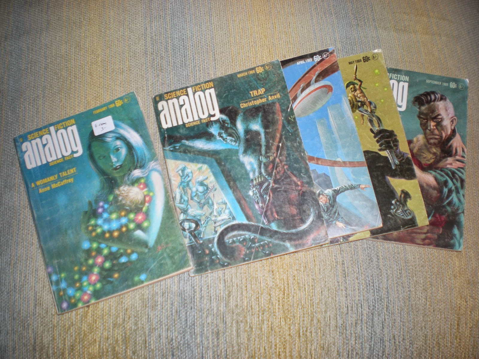 "Covers from five 1969 issues of ""Science Fiction-Science Fact Analog"""