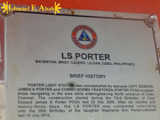 Plaque from Philippine Coast Guard showing Porter Lighthouse's registration in the agency