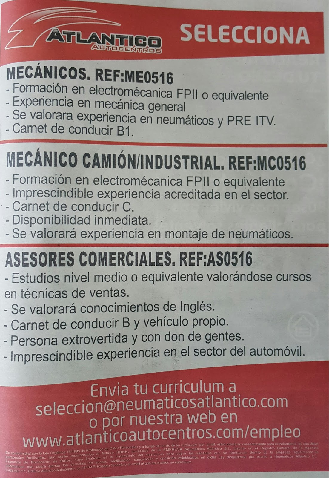 Fpempleo 3 Ofertas De Empleo En Tenerife Atlantico Autocentros