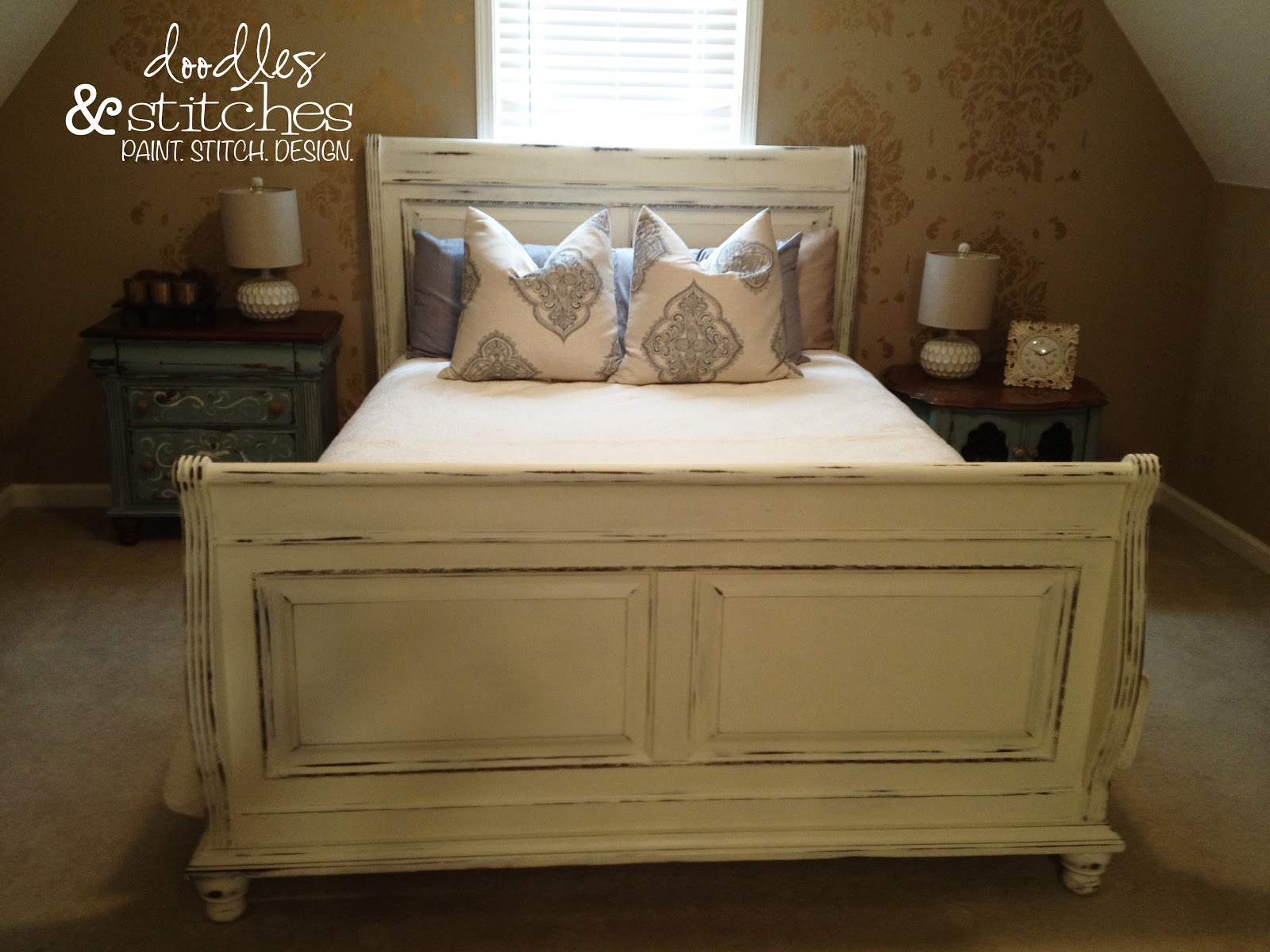 painted sleigh bed doodles stitches