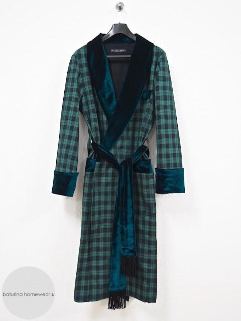 Mens vintage english dressing gown plaid tartan robe gents smoking jacket velvet cotton