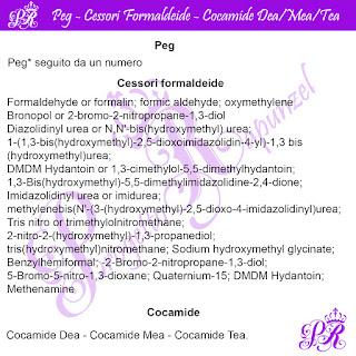 ⛔️⛔️PEG – CESSORI FORMALDEIDE – COCAMIDE DEA/MEA/TEA